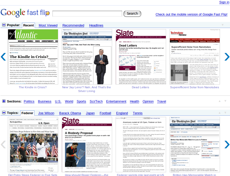 Google Fast Flip, la page d'accueil du service