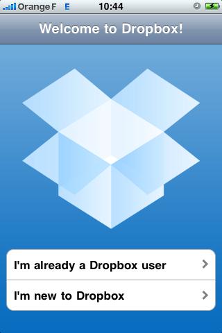 DropBox, l'écran d'accueil