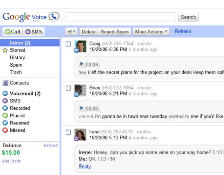 Google Voice : piqure de rappel et nouveauté