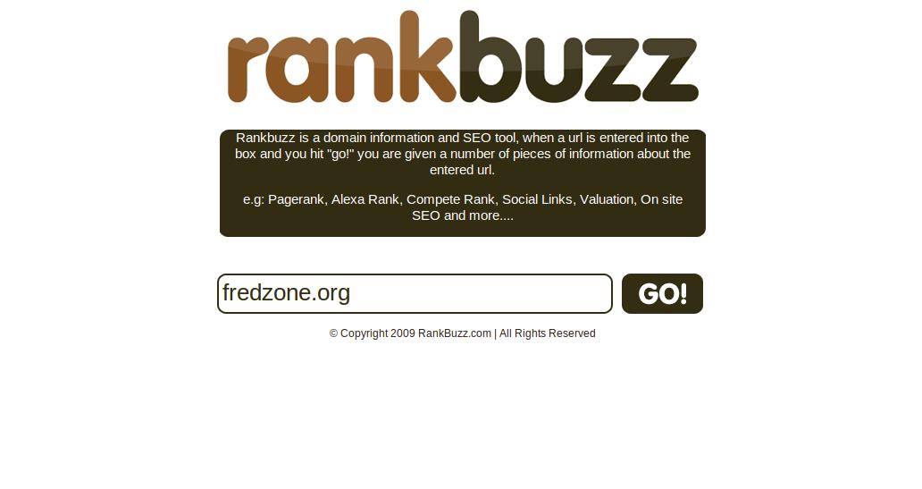 RankBuzz, la page d'accueil du service