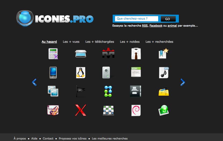 Icones.pro, la page d'accueil du service