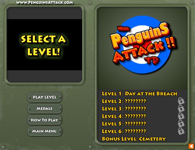 When Pinguins Attack, le choix des niveaux