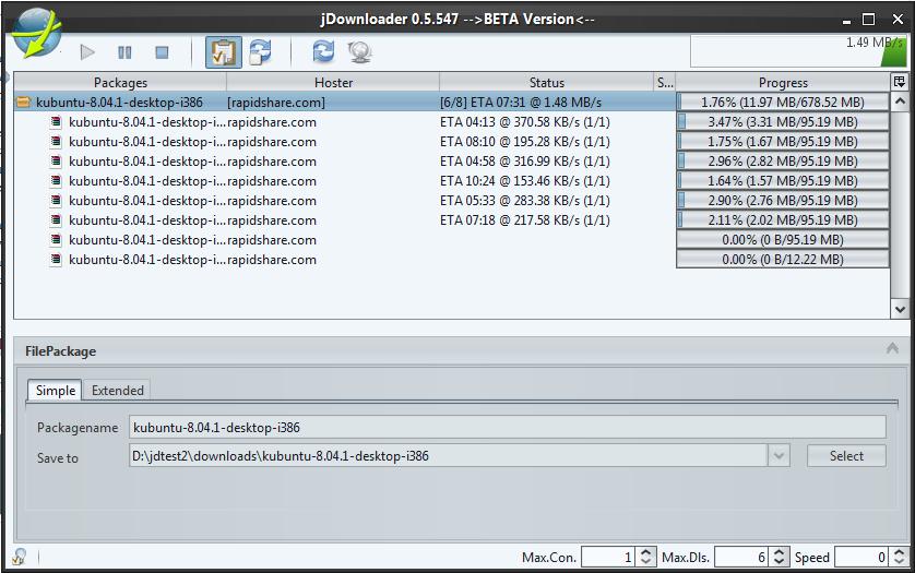 JDownloader, pour débrider MegaUpload et RapidShare