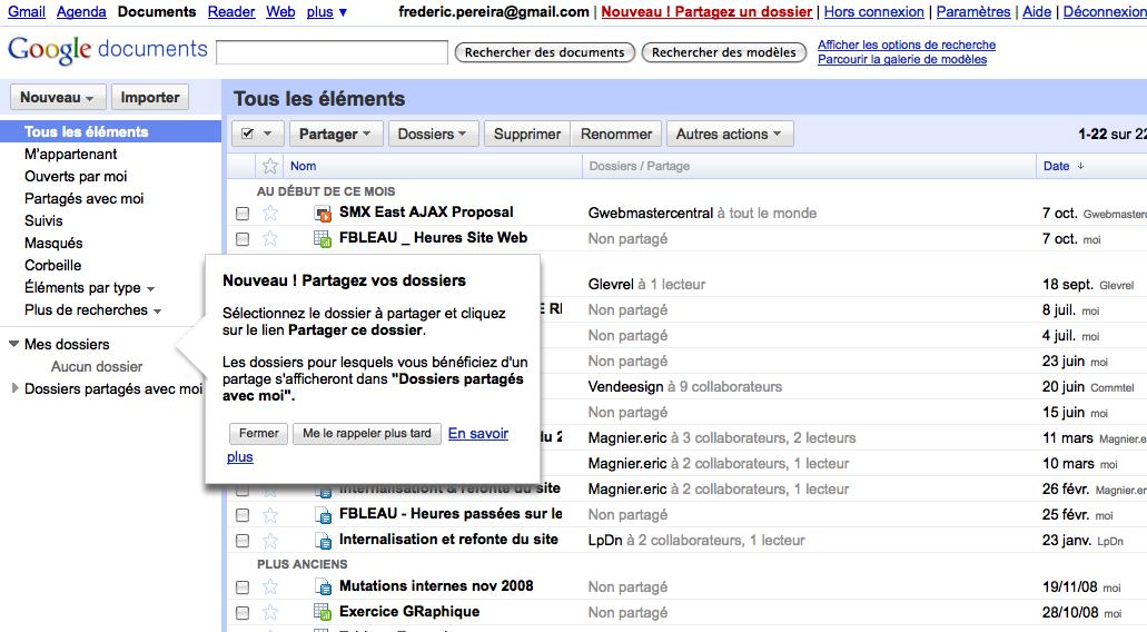Google Docs intègre le partage de dossiers