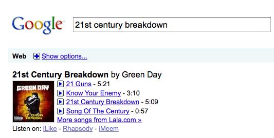 Google Music Search, une première capture
