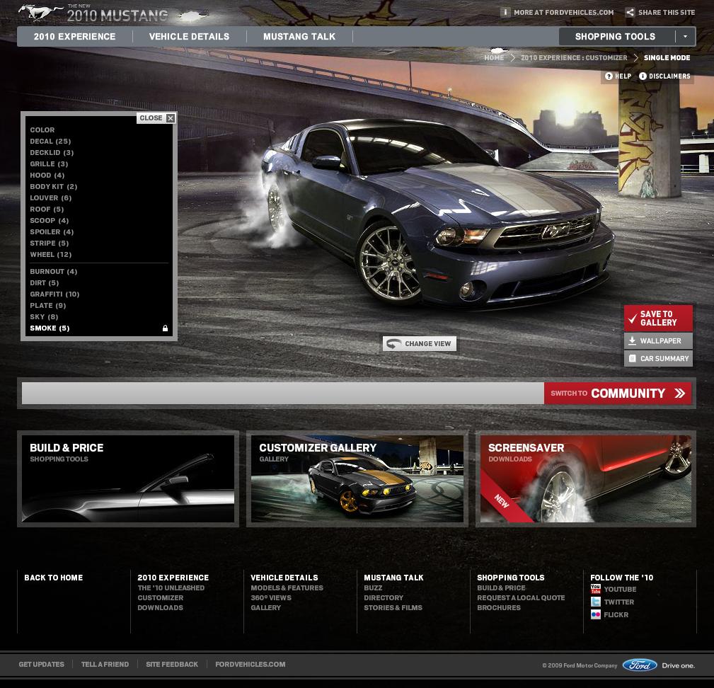 Mustang Customizer, une première vue de l'outil