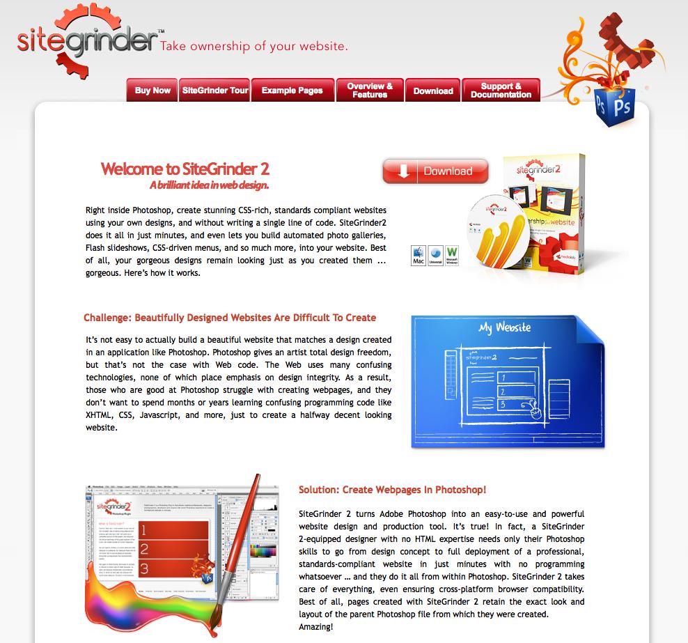 Site Grinder 2, la page d'accueil de l'outil