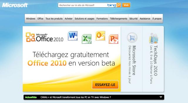 Microsoft Office 2010 Beta disponible en libre téléchargement