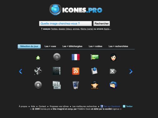 Icones.pro, un moteur de recherche d'icônes