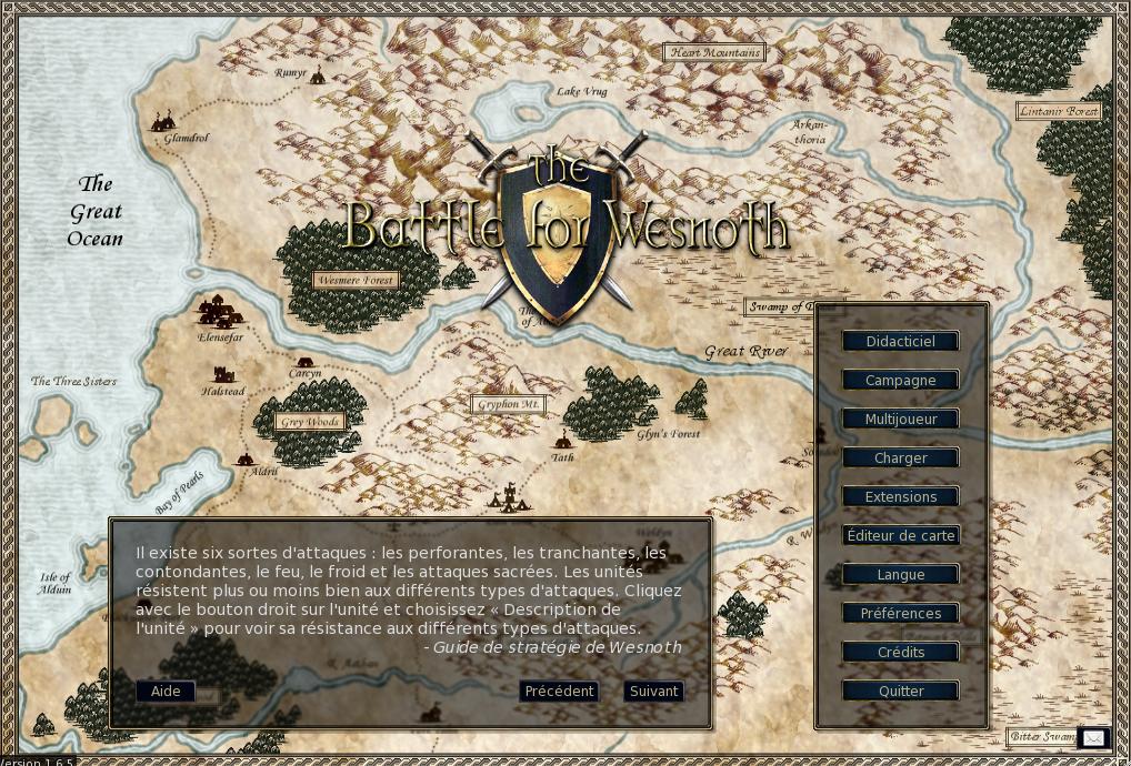 Battle for Wesnoth, la page d'accueil du jeu