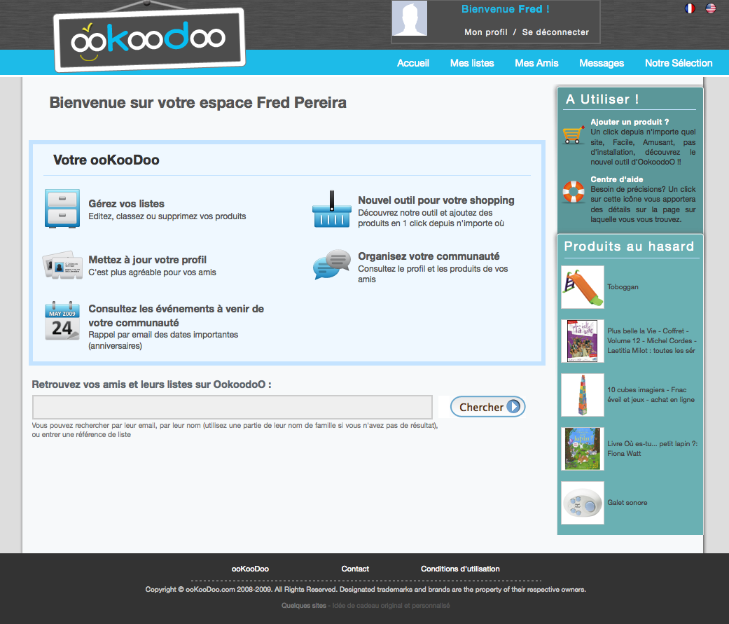 Ookoodoo, la page d'accueil