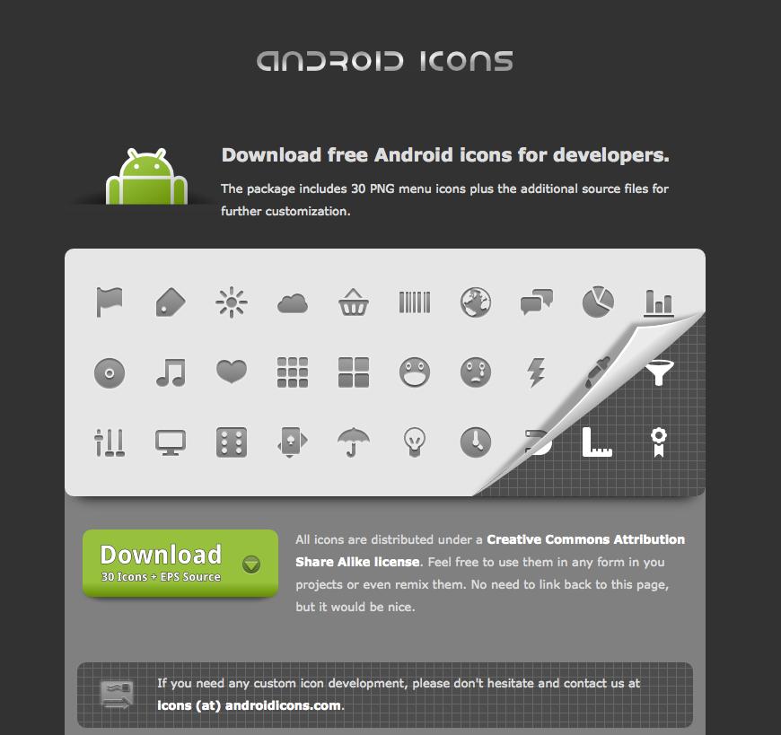 Android Icons : 30 icônes pour les développeurs