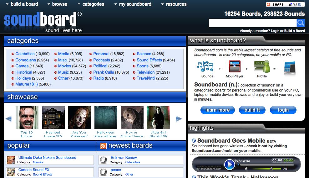 SoundBoard, la page d'accueil du service
