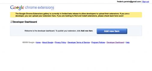 Google Chrome Extensions, la page d'accueil du service pas encore lancé