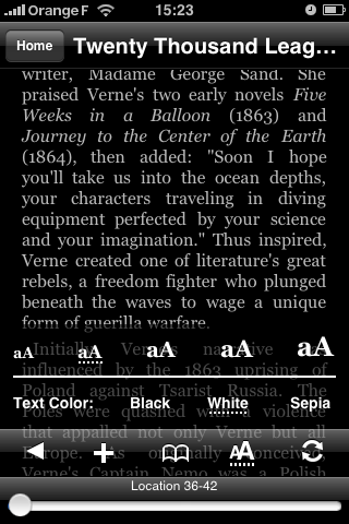 Amazon Kindle for iPhone : le changement de couleur du texte