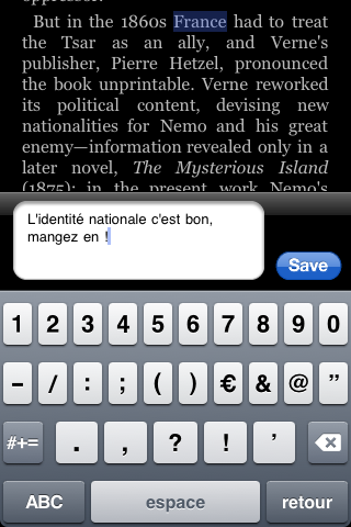 Amazon Kindle for iPhone : l'ajout d'une note