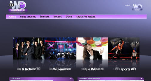 W9 Replay, la page d'accueil du service
