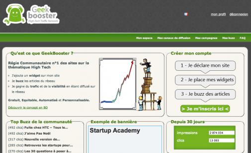 GeekBooster, la page d'accueil