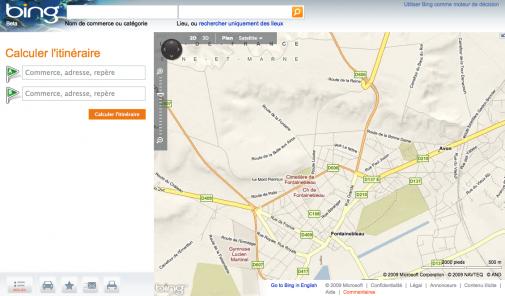 Bing Maps, la page d'accueil