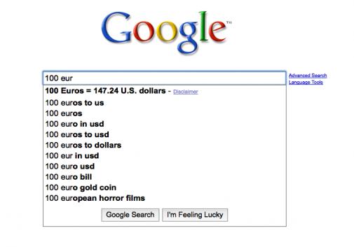 Google Suggest en train de convertir une devise
