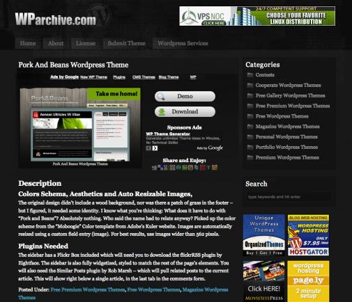 WPArchive, la page d'un thème