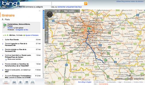 Bing Maps, le calcul d'itinéraire