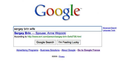 Google Suggest en train de répondre à une question