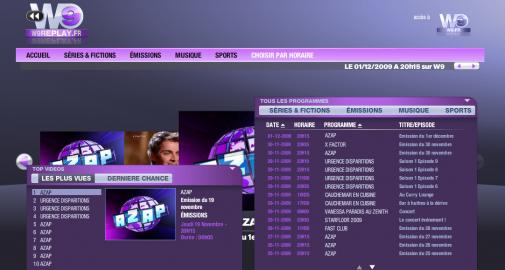 """W9 Replay, le """"top vidéo"""" et la grille des programmes"""