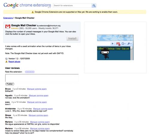 Google Chrome Extensions, la fiche d'une extension