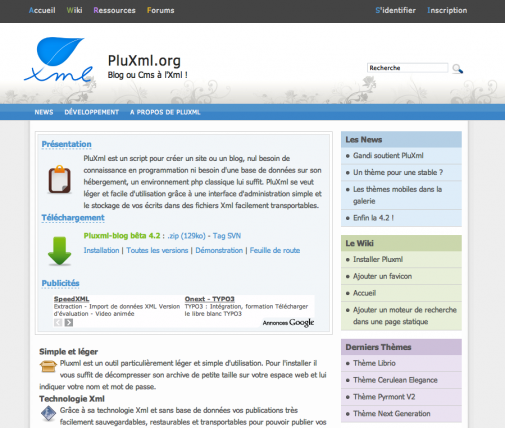 PluXml, le site officiel