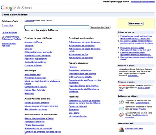 Google adSense : le centre d'aide