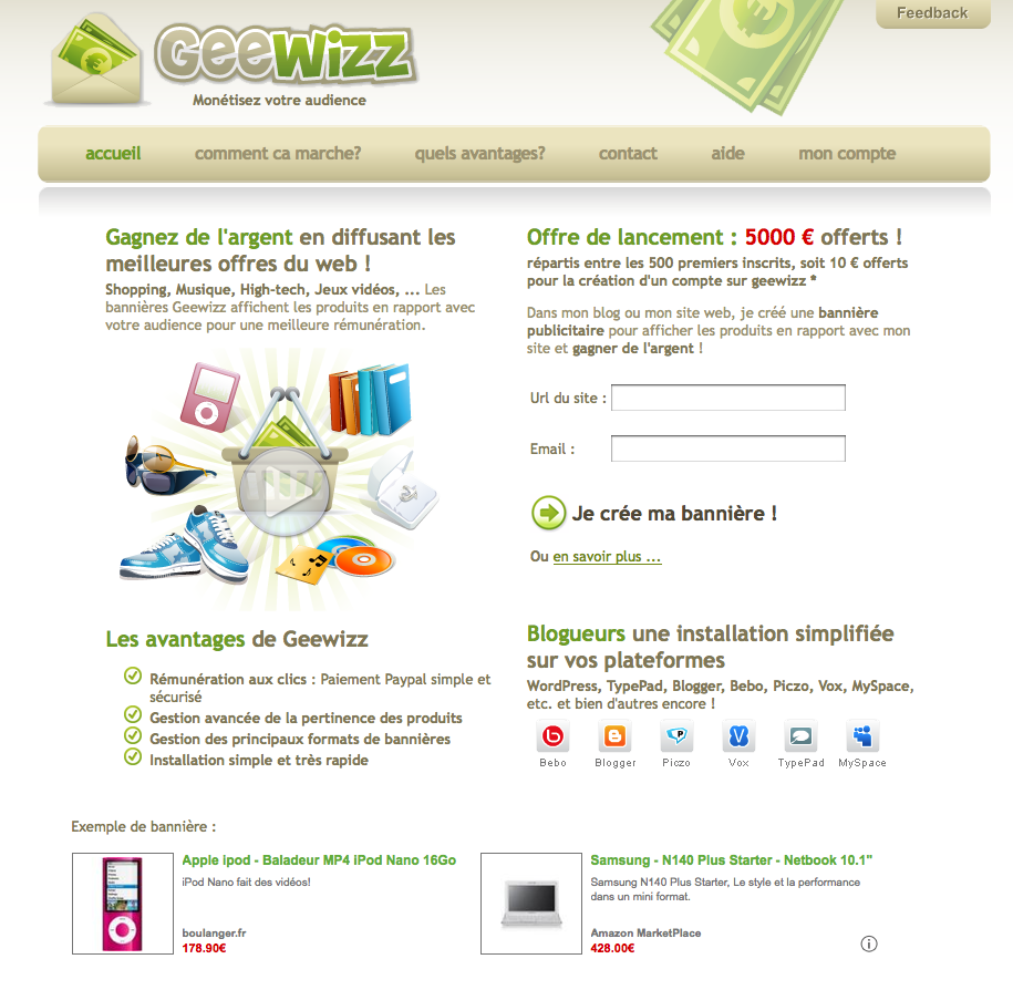 Geewizz, une nouvelle plateforme pour monétiser son blog