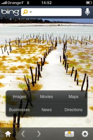 Bing pour iPhone : l'écran d'accueil