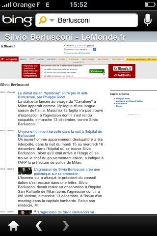 Bing pour iPhone : la recherche de news