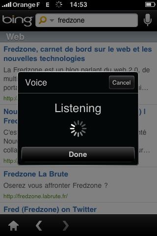 Bing pour iPhone : la recherche vocale