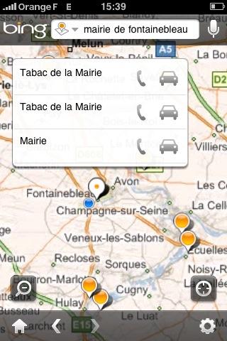 Bing pour iPhone : la recherche de lieux