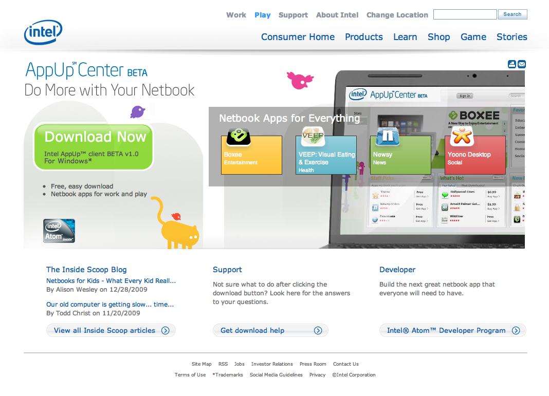 CES : Intel lance son AppUp Center pour les netbooks