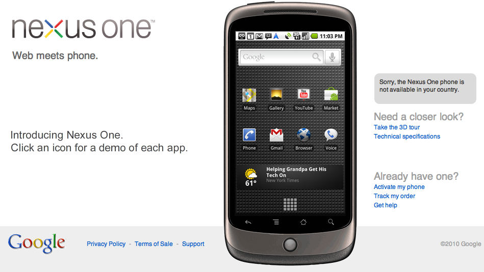 Le Google Nexus One en détails