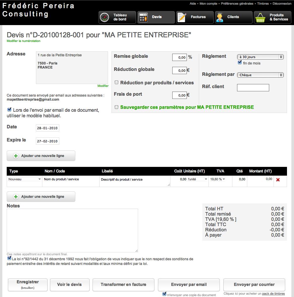 Myfacture pour g rer la facturation de votre entreprise - Duree de validite d un devis ...