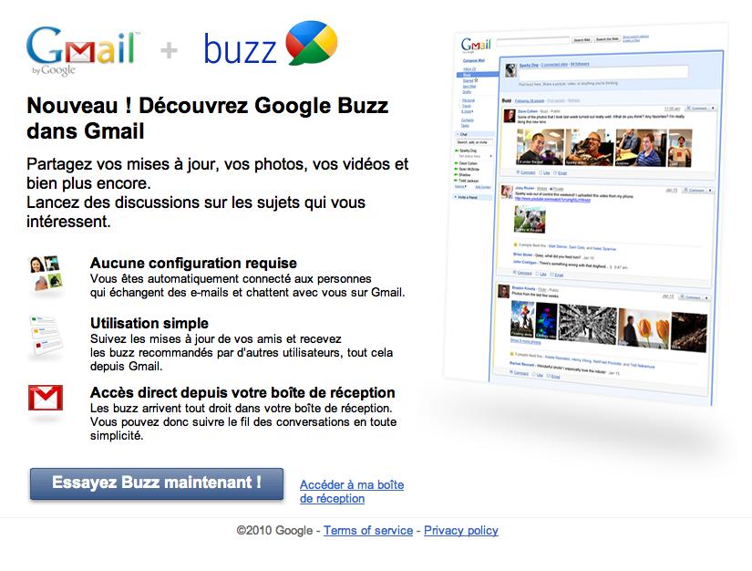Google Buzz, un réseau social dans ton Gmail