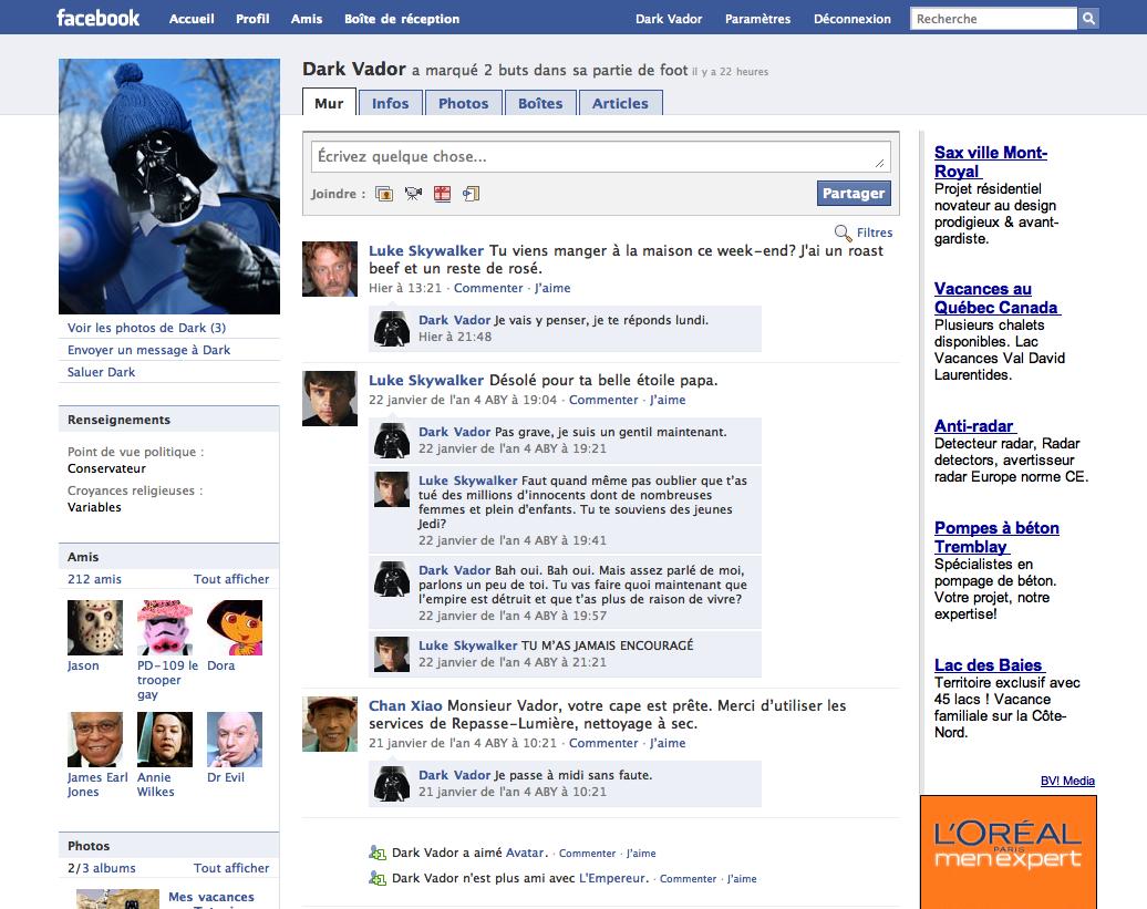 Dark Vador sur Facebook... Ou presque !