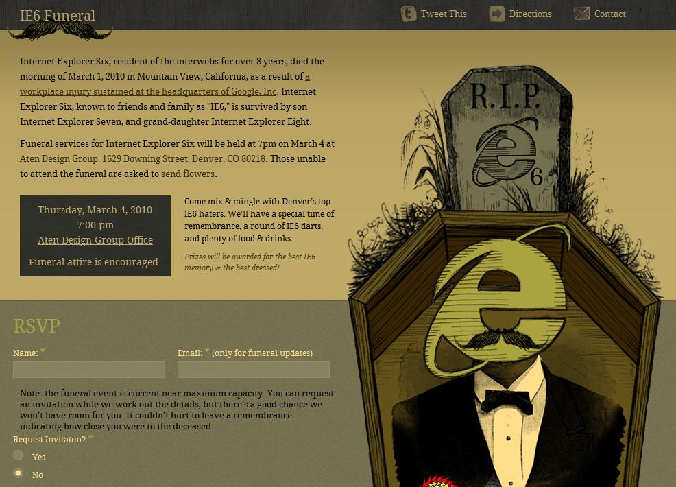 IE 6 Funeral, tout sur le prochain enterrement d'Internet Explorer 6