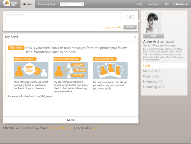 OfficeTalk : Twitter en entreprise par Microsoft