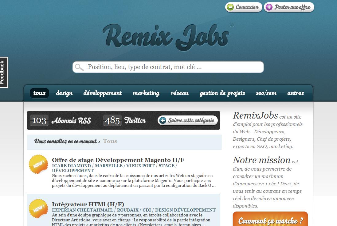 RemixJobs, un site d'emploi dédié aux métiers du web