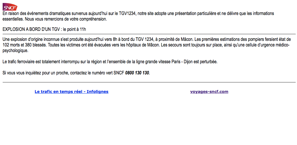 La SNCF annonce par erreur une catastrophe mortelle sur son site internet