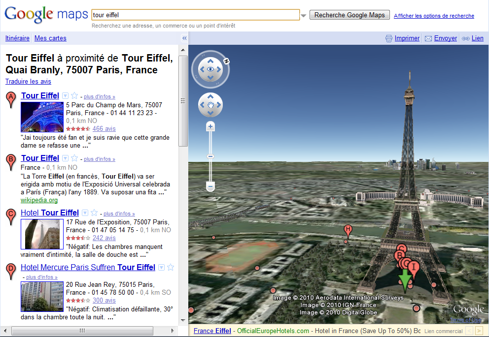 Google Maps : Earth, la nouvelle vue en 3D