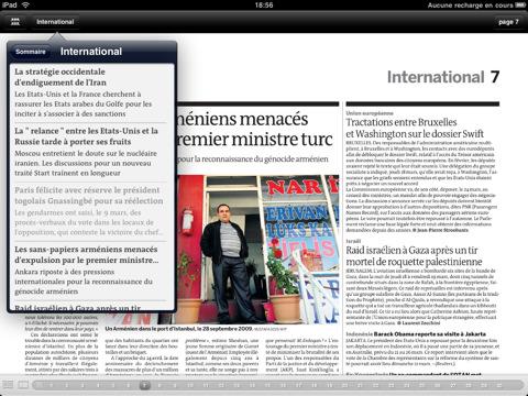 Le Monde sur iPad : une capture de l'application