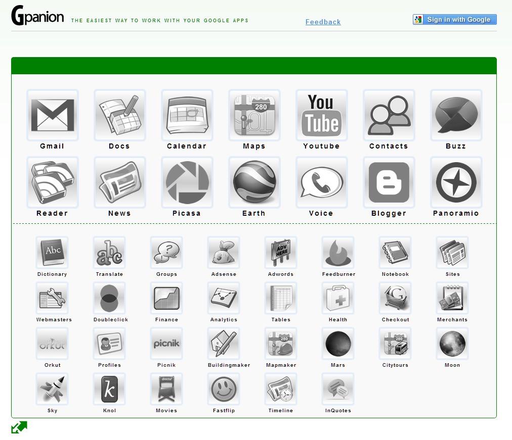 Gpanion, une page d'accueil personnalisable dédiée aux Google Apps