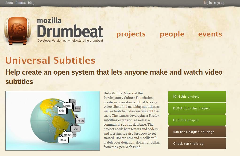 Universal Subtitles : le sous-titrage universel par Mozilla