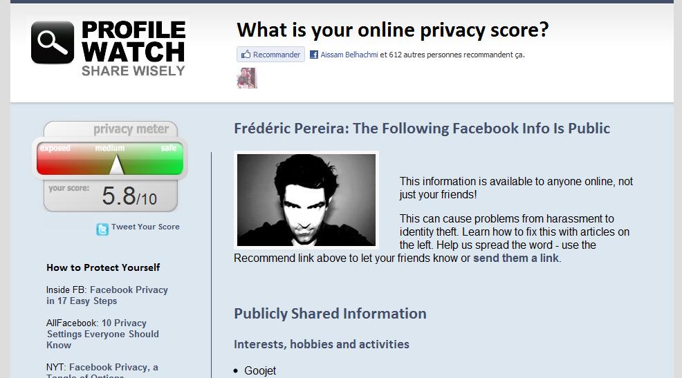 Profile Watch, pour s'assurer de la confidentialité de votre profil Facebook